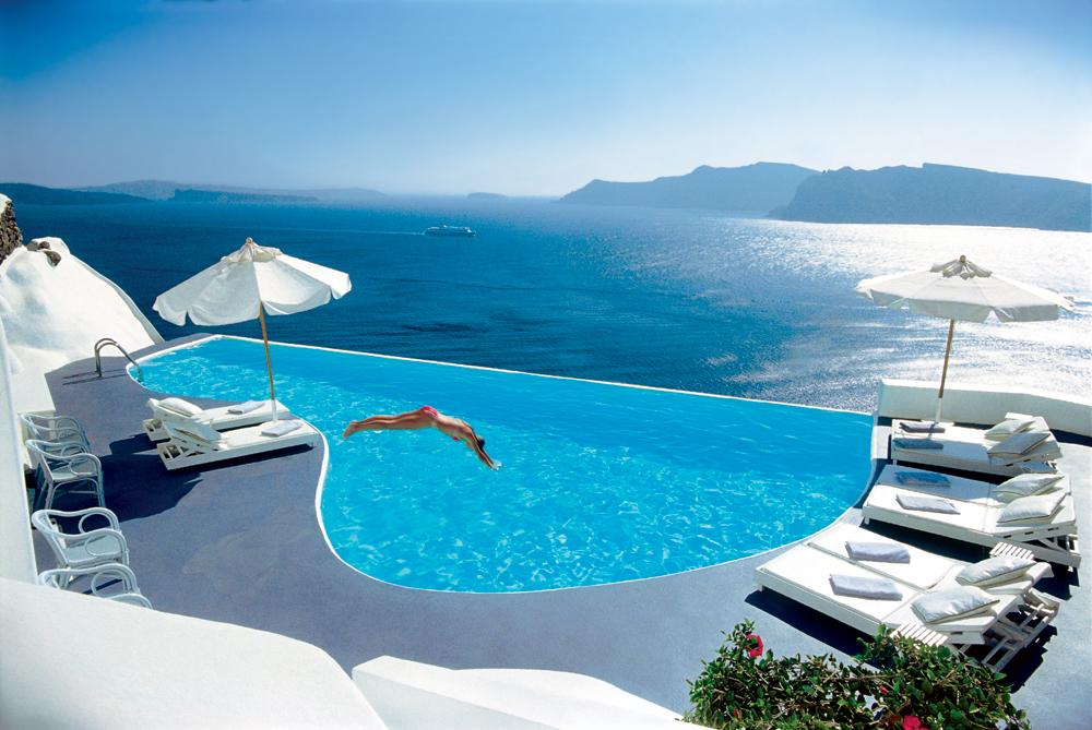 Katikies Hotel in Oia Santorini Greece poolside lounge