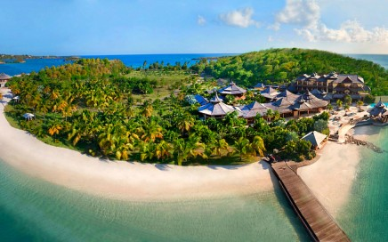 Necker Island is a 74-acre island in the British Virgin Islands; 1100 miles from Miami, Florida, 60 miles from Puerto Rico, 120 miles from St. Barts