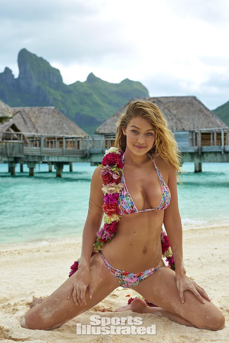 Gigi Hadid in Bikini on the set of a Sports Illustrated shoot in Tahiti