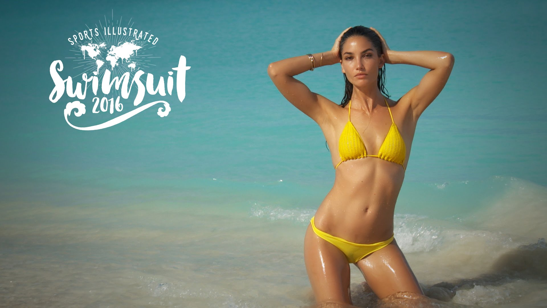 Lily Aldridge swimsuit sports illustrated cover hot bikini beach water thong sexy ass bodypaint (5)
